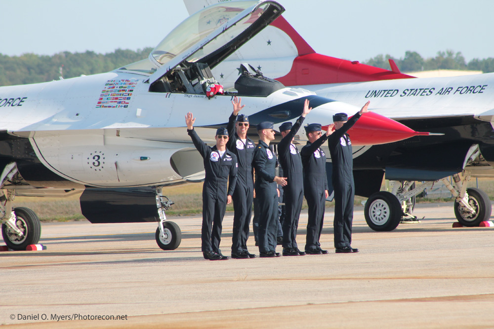 T-Bird pilots post flight wave