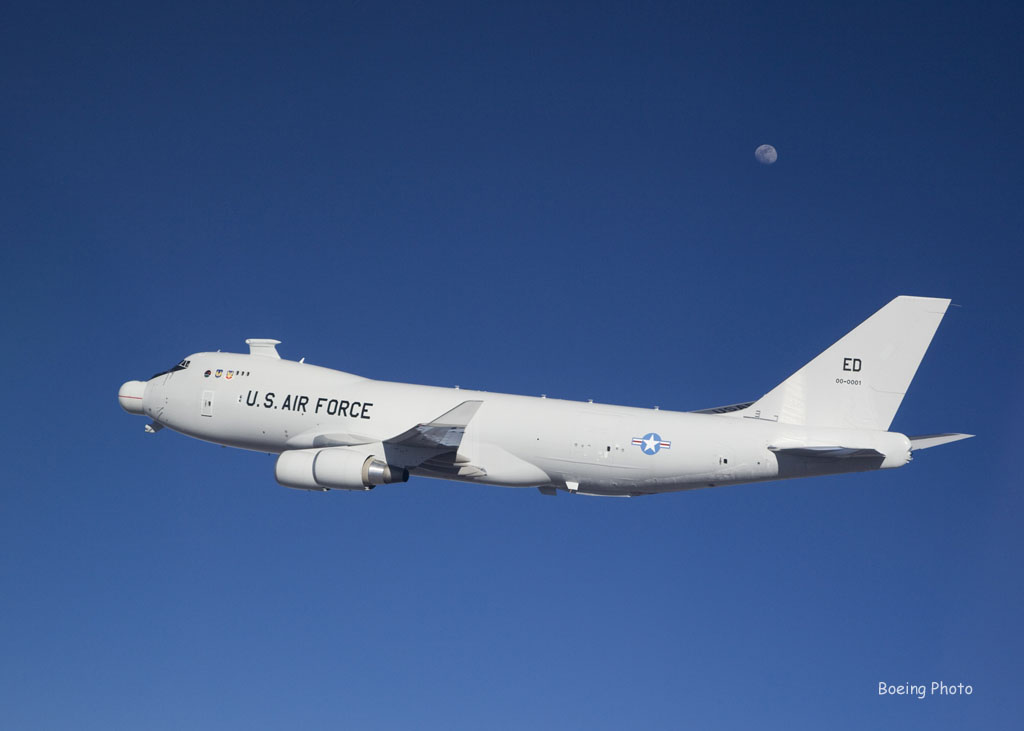 "Air Borne Laser (YAL-1) in flight ""near"" the moon. Shot from the F-16 chase. Date: March 29, 2007. Photographer: Bobbi Zapka"