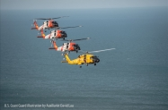 Coast Guard MH-60 Jayhawk helicopters fly flight formations at the Wright Brothers National Memorial, Wednesday, March 10, 2016. Air Station Elizabeth City helicopter crews were at Kill Devil Hills to celebrate the centennial anniversary of the Coast Guard's aviation program with formation flights and a classic painting scheme. (U.S. Coast Guard illustration by Auxiliarist David Lau)