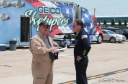Air Boss David Schultz confers with GEICO Team #2 Ken Johansen copy