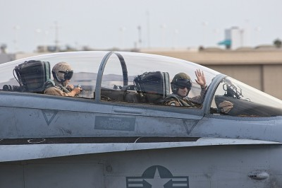 FA-18 Taxi Out First Flight Saturday Pilot Wave