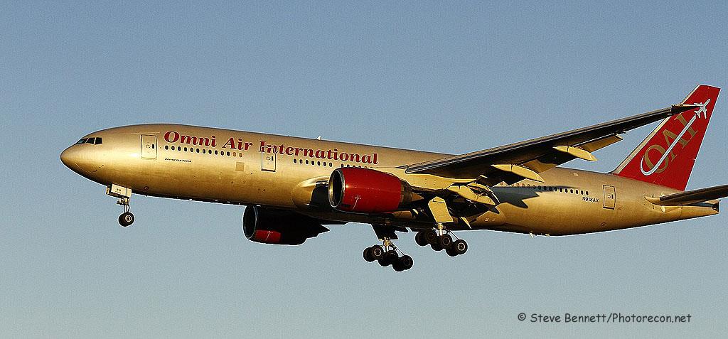 Omni Air, Boeing 777-200ER (mfg 1997), N918AX, at Pease
