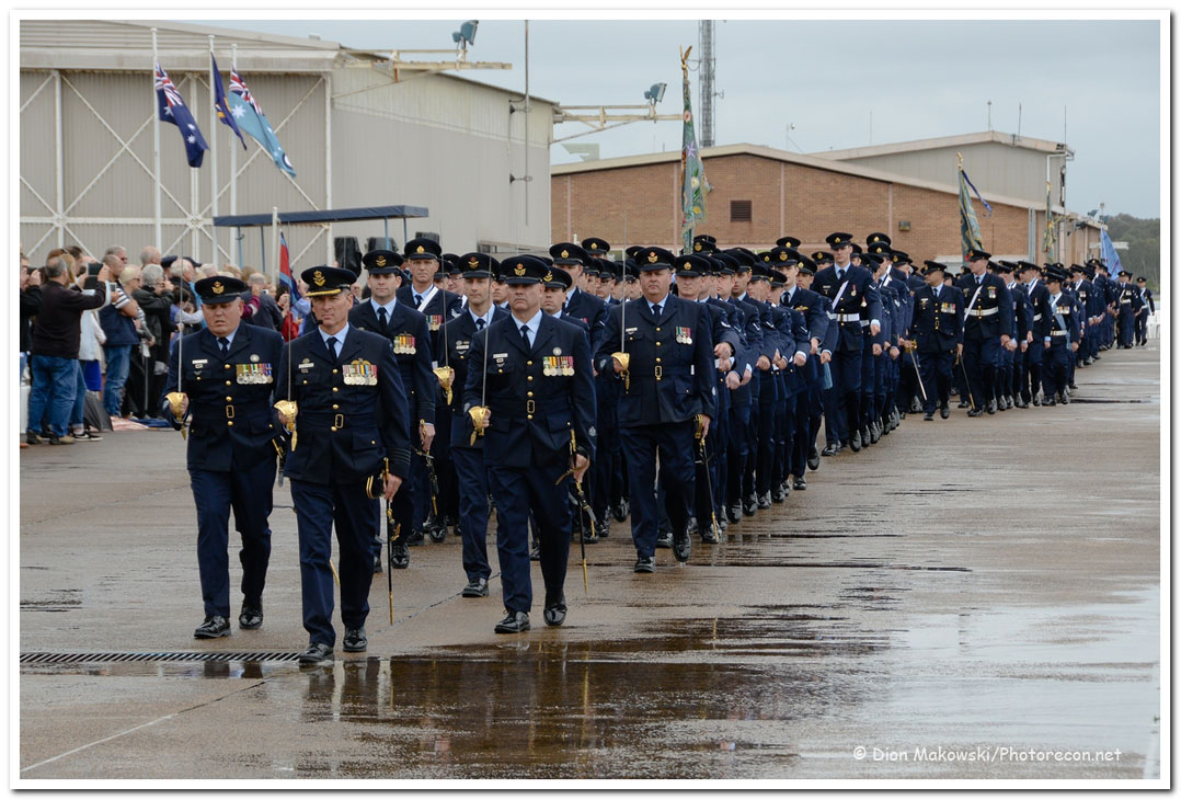 Parading the flying squadron\'s colours