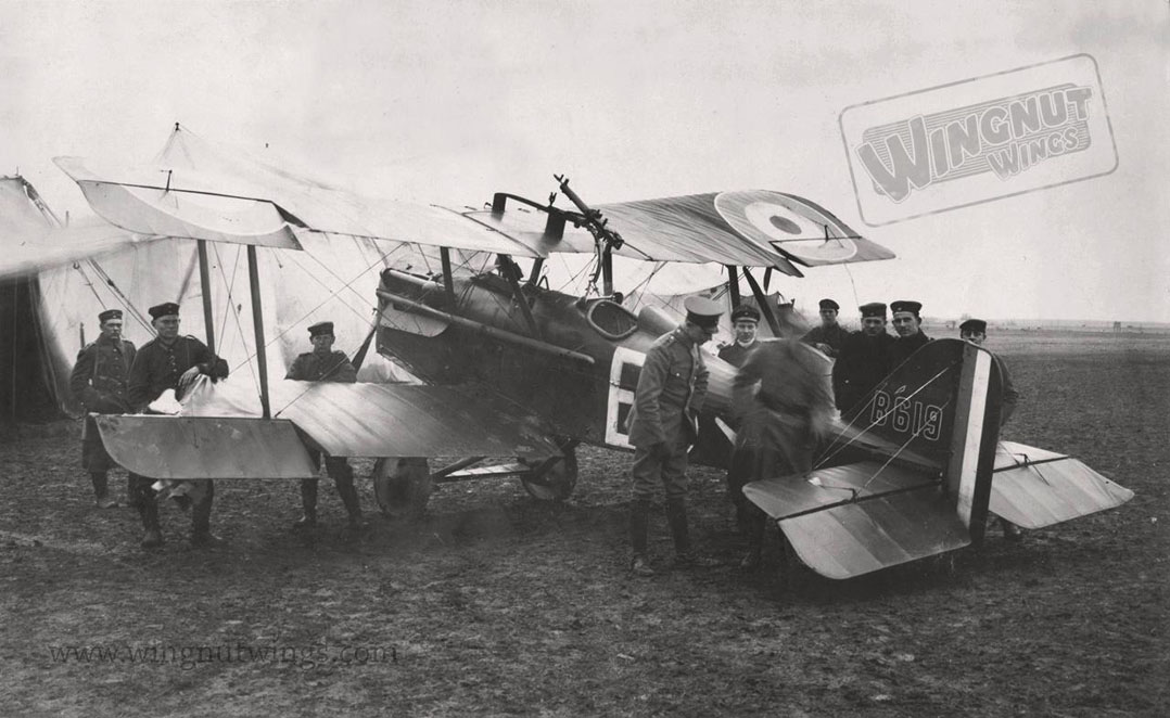 SE.5a Hisso B619 of 2 Sqn AFC. 2Lt GC Logan shot down by Lt Pippart of Jasta 19 & made POW 21 Feb 1918. Note the white E on the left wing (Wingnut Wings)